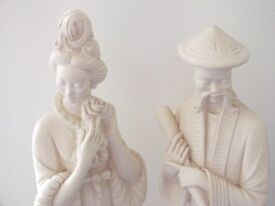Chinese figurines. Very tall, approx 42 cms (17 inches)