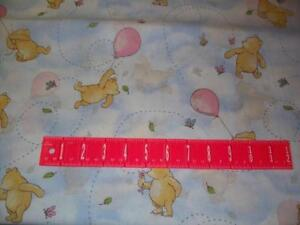Winnie-the-Pooh-Classic-Disney-Light-Marbled-Blue-Cotton-Fabric-By-The-Yard-OOP