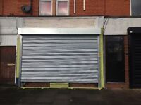 Good sized lock up shop with kitchen, toilet and new shutter £575 pcm - flexible lease, on bus route
