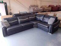 Ex-display Sisi Italia Victor black leather/fabric corner sofa