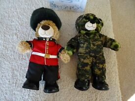 Build A Bear Army Bundle - Guardsman Bear with sword, Camouflage Bear with helmet