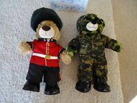 Build A Bear Army Bundle - Guardsman Bear with sword, Camouflage Bear with helmet