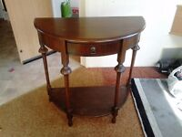 Half moon table with draw and shelf