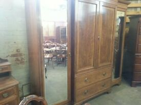 Antique early Victorian break front wardrobe and dressing table