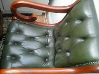 Green leather antique wring desk and chair