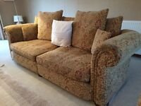 Large Chenille sofa and single armchair