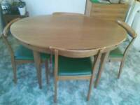 G-Plan oval teak extendable table and chairs