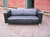 real leather sofa IKEA KLIPPAN on solid wooden legs, 2 seater couch, quality settee- black