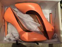 Orange pointed court shoes. UK size 7. Aldo