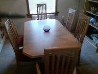 Light ash extending dining table with 6 matching chairs
