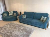 Teal fabric Sofa with Cuddle Chair and Storage Footstall