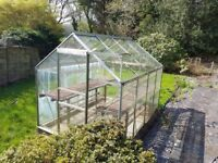 Greenhouse with sliding door, shelving units and plant pots etc if wanted