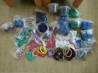 Large bundle of beads and bracelets for jewellery making / crafting
