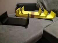 U shape shelves - Wall shelf - 4 shelves - Perfect conditions - Yellow and black - House clearance