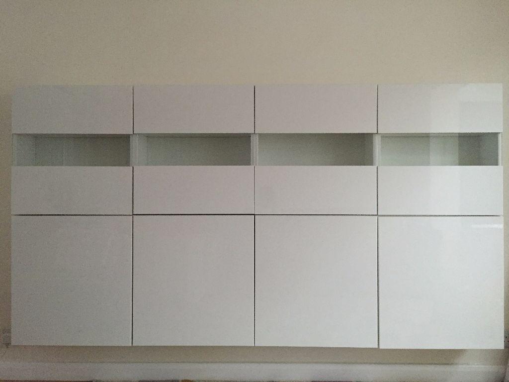 Ikea Besta Storage Combination White Gloss Glass