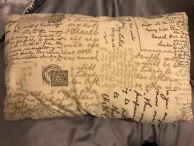 Shabby Chic Antique Cream post card script cushion £5 :)