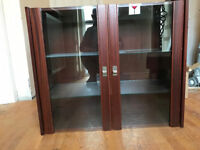 Rich Mahogany Bookcase Display Cabinet With Gl Doors And Internal Light