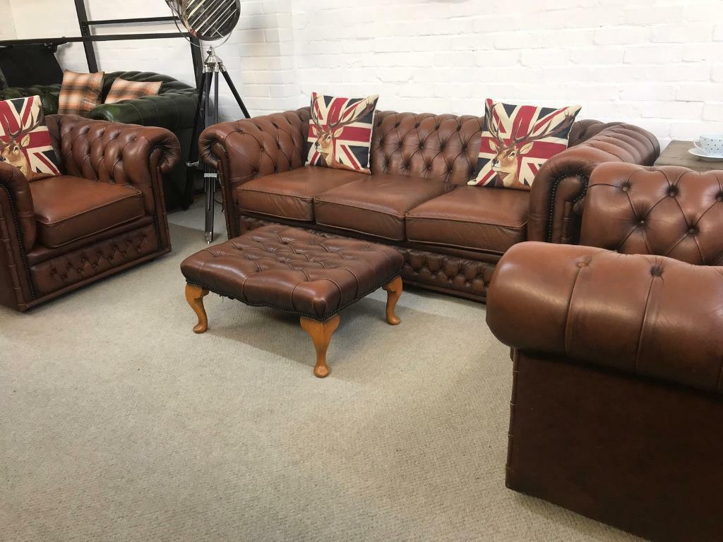 Tremendous Havana Tan 3 Seater Chesterfield Sofa Matching Armchairs Available Can Deliver In West Mersea Essex Gumtree Machost Co Dining Chair Design Ideas Machostcouk