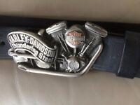 Handmade leather belt with HARLEY DAVIDSON BUCKLE