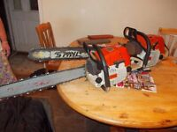 2 x stihl chainsaws all in good working order with new chains