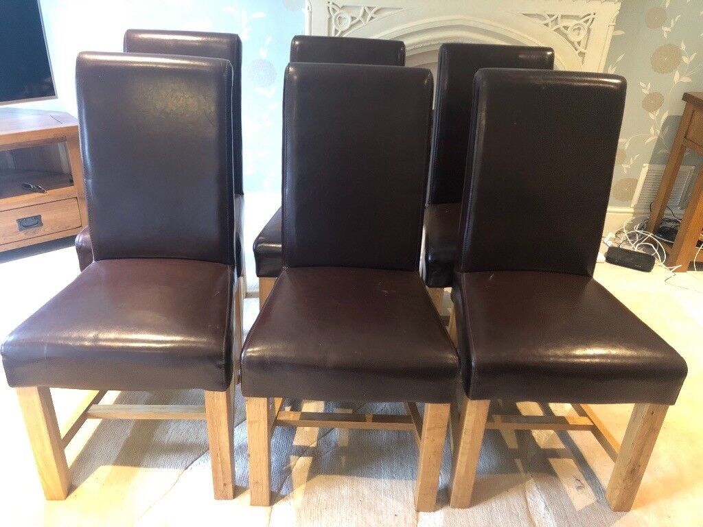 6 Brown Leather And Oak Dining Chairs In Warrington Cheshire Gumtree