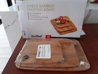 VonShef 3 Piece Bamboo Wooden Chopping Board Set (Brand New)