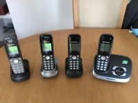 Set of Panasonic phones with answerphone and instructions