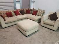 Large fabric corner sofa + chair + footstool CAN DELIVER