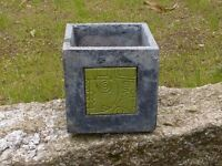 Stylish Contemporary Square Garden Planter with Central Tile Decoration