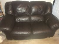 Brown leather 3 & 2 seater sofa