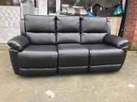 Harvey's bel air black Recliner 3 seater sofa three couch settee leathair leatherette