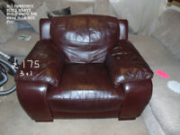 leather used suite 3+1 in brown in north wales area