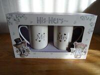 "His & Hers ""Hugs"" Mug Set (New & Boxed)"