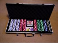 500PC PIECE CASINO POKER CHIP SET TEXAS HOLD'EM PROFESSIONAL CARD GAME & CASE