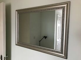 Large wall mirror antique silver effect 90x65cm approx