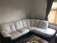 DFS corner cream leather sofa