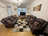 Brown Leather Recliner Sofa Set, 3 seater + 2 seater + 1 seater, mint condition