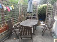 Wooden Patio Furniture - table with 4 chairs and umbrella