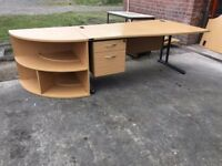 QUALITY BEECH WAVE STYLE DESK AND CORNER UNIT