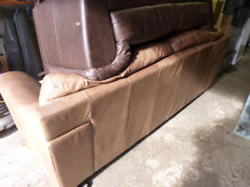 Large leather 3 seater sofa, worn but clean & serviceable.