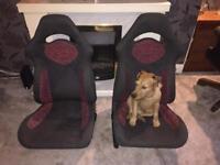 Pair of Subaru bucket seats red and black