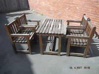 5 Piece Garden Pub Patio Set Wood Table 4 Craver Chairs,Used needs Painting Restoration Project.USED