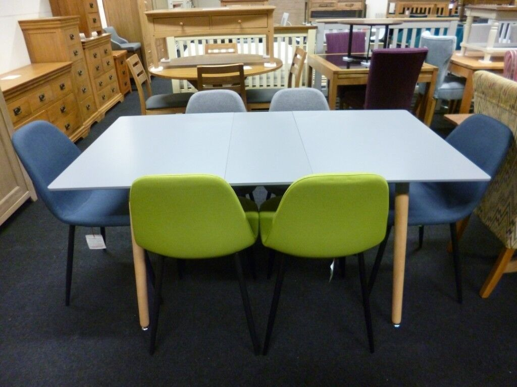 Black Friday Sale New Danetti Grey Extending Dining Table And Six
