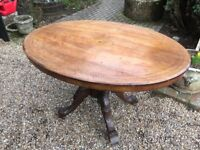 Burr Walnut Tilt Top Table and Carved Turned Supports (Antique)