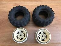 Tamiya Hornet RC Buggy rear wheels and tyres