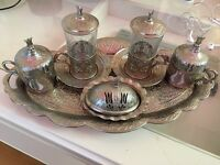 Silver,Ottoman style Turkish Coffee cup set for sale!