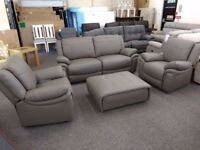 ScS Libra Grey Leather 3 Seater Sofa & 2 Armchairs **CAN DELIVER**