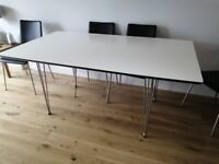 Extendable White Top Dining Table with 6 Leather Dining Chairs