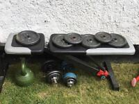 Weights bench and set of weights