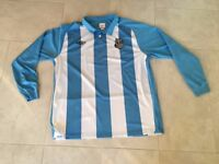 Set of Sky & White Stripes Umbro Football Team Jerseys (Numbered and XL Mens Size)